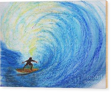 Surf Wood Print by Serene Maisey