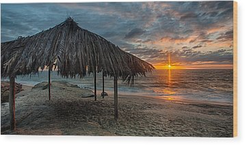 Surf Shack At Sunset - Wide Format Wood Print by Peter Tellone