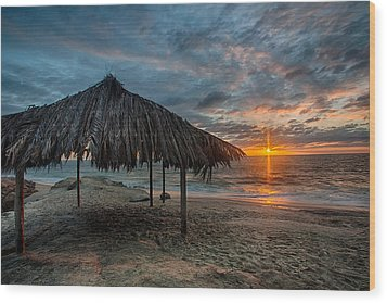 Surf Shack Sunset Wood Print by Peter Tellone