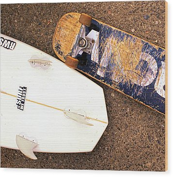 Surf Skate Fins And Wheels Wood Print by Ron Regalado