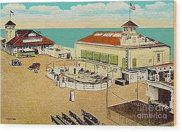 Surf Theatre And Seaview Pavilion At Salisbury Beach Ma 1937 Wood Print