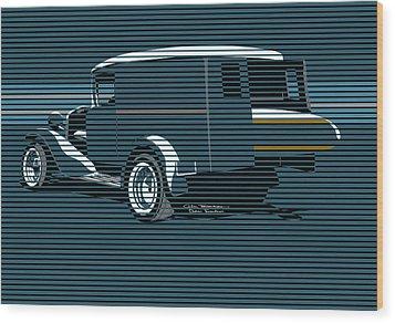 Surf Truck Ocean Blue Wood Print by MOTORVATE STUDIO Colin Tresadern
