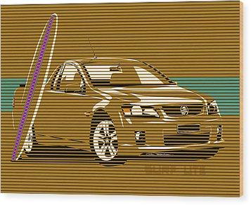 Surf Ute Wood Print by MOTORVATE STUDIO Colin Tresadern