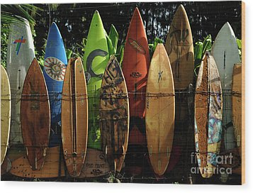 Surfboard Fence 4 Wood Print by Bob Christopher