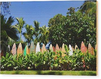 Surfboard Fence - Left Side Wood Print by Paulette B Wright