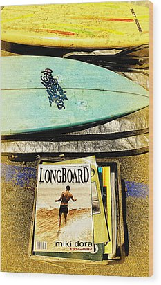 Surfboards And Magazines Wood Print by Ron Regalado