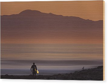 Wood Print featuring the photograph Surfer Approaching Rincon Mg_9505 by David Orias