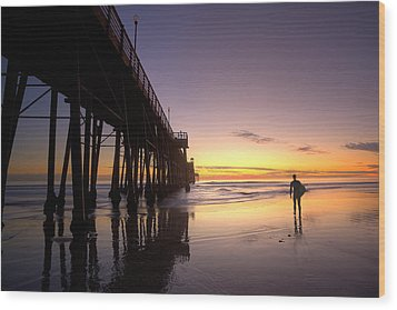 Surfer At Sunset Wood Print by Peter Tellone