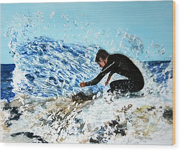 Surfer Wood Print by Betty-Anne McDonald