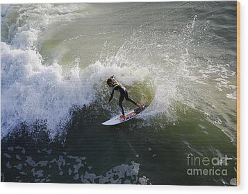 Surfer Boy Riding A Wave Wood Print by Catherine Sherman