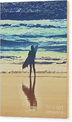 Surfer Girl Wood Print by Andrea Auletta