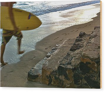 Surfer In Motion Wood Print