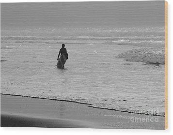 Surfer In The Mist Wood Print by Terri Waters