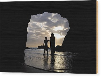 Surfer Inside A Cave At Muriwai New Wood Print by Deddeda