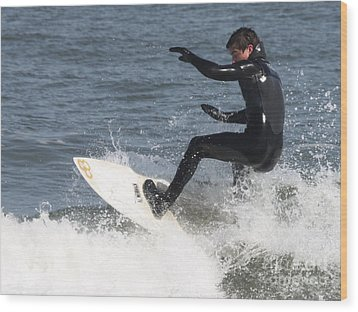 Wood Print featuring the photograph Surfer On White Water by John Telfer