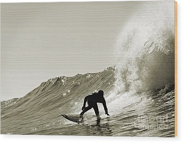 Wood Print featuring the photograph Surfer Sepia Silhouette by Paul Topp