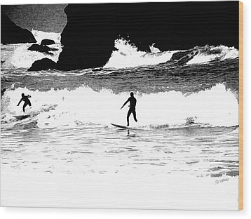 Surfer Silhouette Wood Print by Kathy Churchman