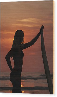 Surfer Sunset Silhouette Wood Print