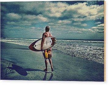 Surfer Walking The Beach Wood Print by James David Phenicie
