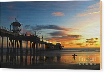 Surfer Watching The Sunset Wood Print