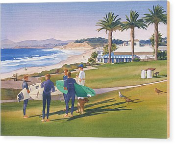 Surfers Gathering At Del Mar Beach Wood Print by Mary Helmreich