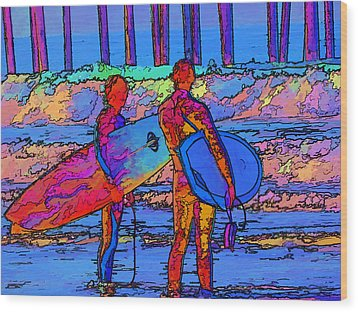 Surfers Wood Print by Kathy Churchman
