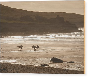 Surfers On Beach 02 Wood Print by Pixel Chimp