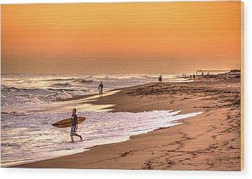 Wood Print featuring the digital art Surfers' Sundown by Julis Simo