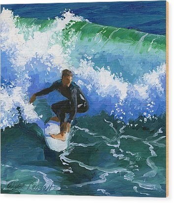 Surfin' Huntington Beach Pier Wood Print by Alice Leggett