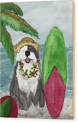Surfin' Santa Wood Print