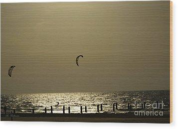 Surfing At Sunset 02 Wood Print by Arik Baltinester