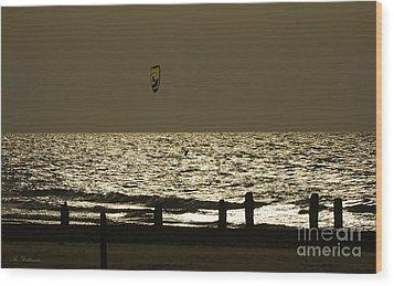 Surfing At Sunset Wood Print by Arik Baltinester