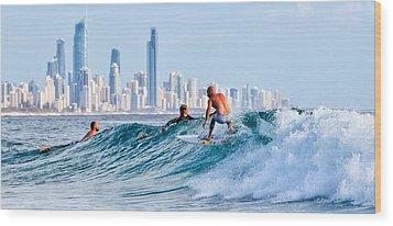 Surfing Burleigh Wood Print