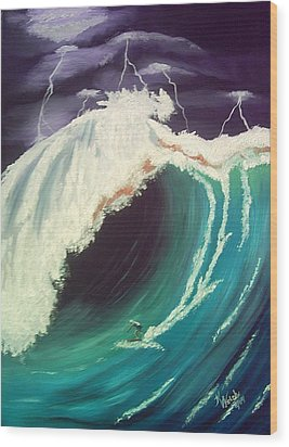 Surfing Dare Devil  Wood Print by Kathern Welsh