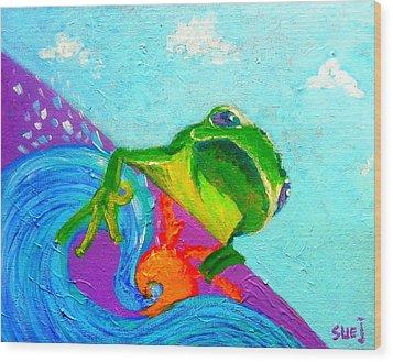 Surfing Froggie Wood Print