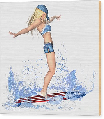 Surfing Girl Wood Print
