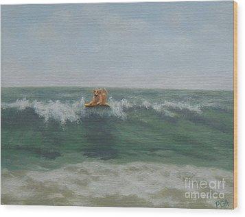 Surfing Golden Wood Print