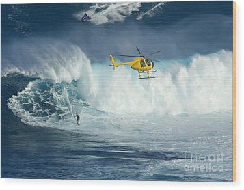 Surfing Jaws 6 Wood Print by Bob Christopher
