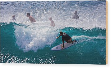 Surfing Maui Wood Print by Adam Romanowicz