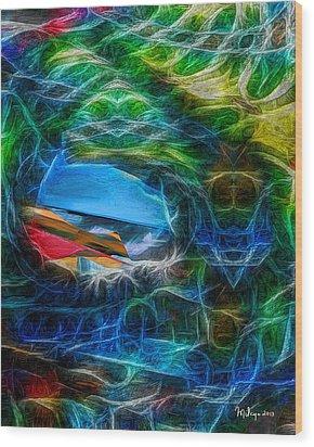 Surfing Wood Print