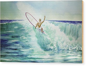 Surfing California Wood Print