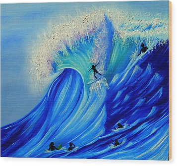 Surfing Party Wood Print by Kathern Welsh