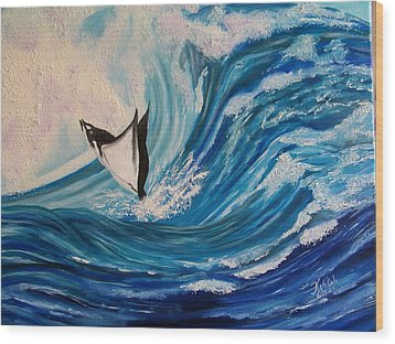 Surfing Stingray II Wood Print by Kathern Welsh
