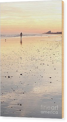 Surfing Sunset Wood Print by Eric  Schiabor