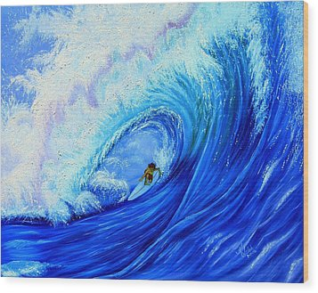 Surfing The Wild Wave Wood Print by Kathern Welsh