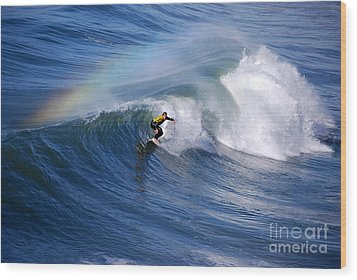 Surfing Under A Rainbow Wood Print by Catherine Sherman
