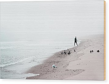 Surfing Where The Ocean Meets The Sky Wood Print