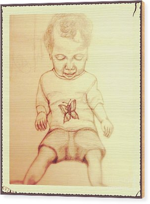Wood Print featuring the drawing Surprised By A Swallowtail Butterfly by Kimberlee Baxter