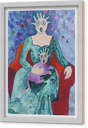 Surprised Woman With Frightened Cat Wood Print by Eve Riser Roberts