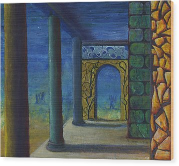 Surreal Art With Walls And Columns Wood Print by Lenora  De Lude